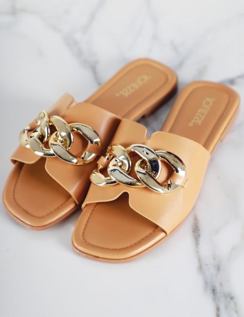 Mules à chaîne dorée