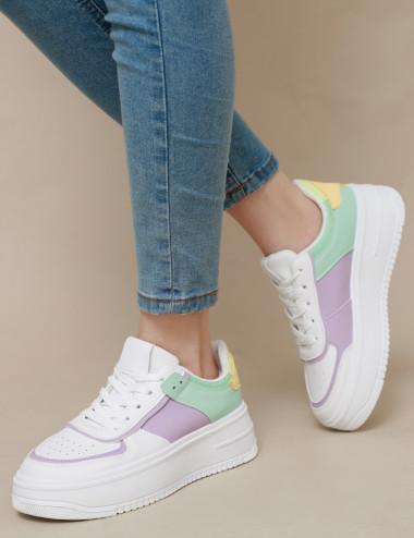 Sneakers à empiècements aux...