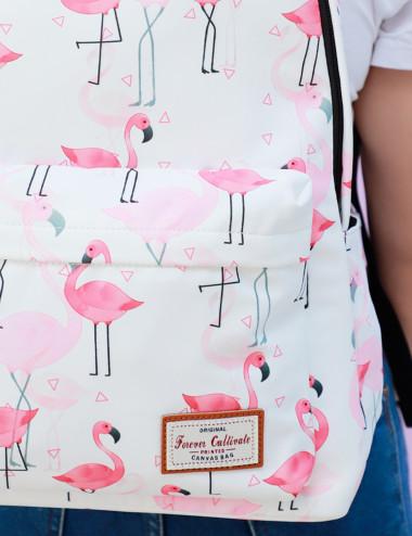 Sac à dos imprimé flamingo