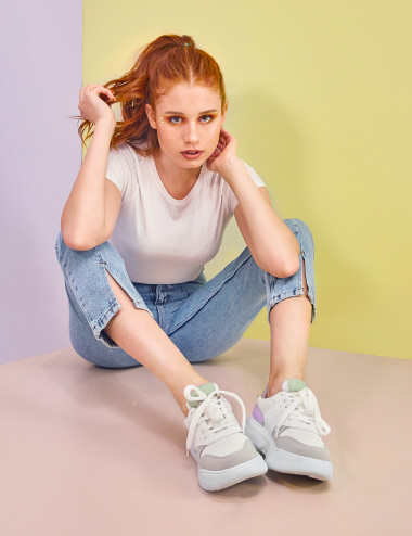 Sneakers multicolore à...